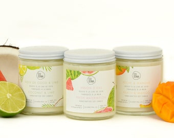 Summer Collection Trio! Aromatherapy | Sweet and fruity scents | Handmade | Soy Candle | 50 hours | Gift Set | Self-Care
