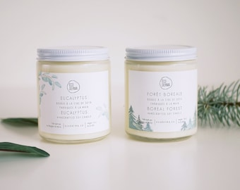 Candle Gift Set: Eucalyptus + Boreal Forest Candle duo, eucalyptus, fresh pine,fir, vegan, gift for her