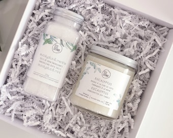 Eucalyptus Gift Set - Bath Salt & Handcrafted Soy Candle, gift for her, gift for him, teacher's gift, unwinding gift set