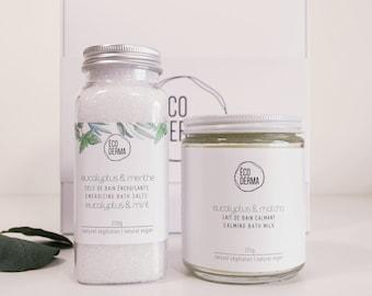 Eucalyptus Gift Box Duo | Aromatherapy | Essential oils | Natural | Spa Gift for her | Soothing Bath Soak | Vegan Bath Milk | Handmade gift