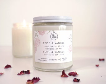 Handcrafted Soy Candle | Rose Vanilla | Scented Candle | Spa Gift for her | Handmade and 100% Vegan