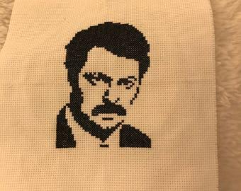 Ron Swanson Cross Stitch