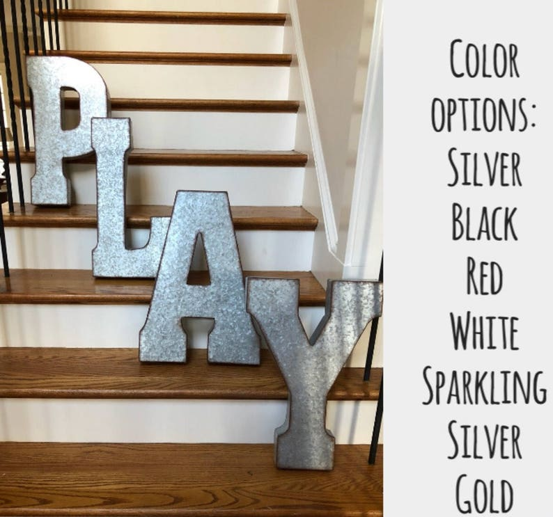 Sale Extra Large Metal Letters White Gold Black Red Etsy