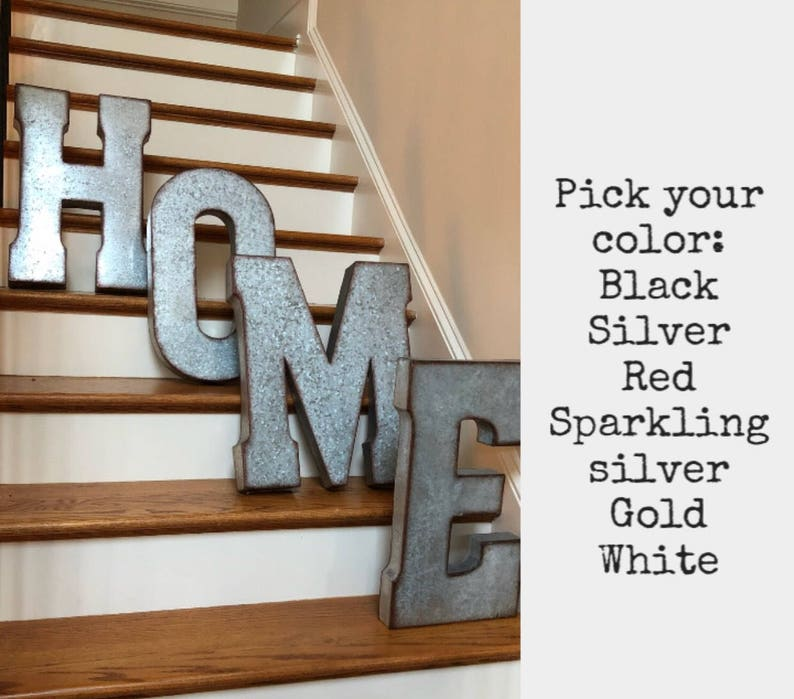 Sale Extra Large Metal Letters Pick Color Galvanized Metal Etsy