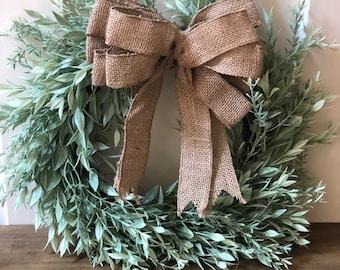 "SALE/Farmhouse Wreath with burlap bow, Wreaths, family initial, Green wreath, Faux Wreath, Farmhouse, Monogrammed wreath, 15"""