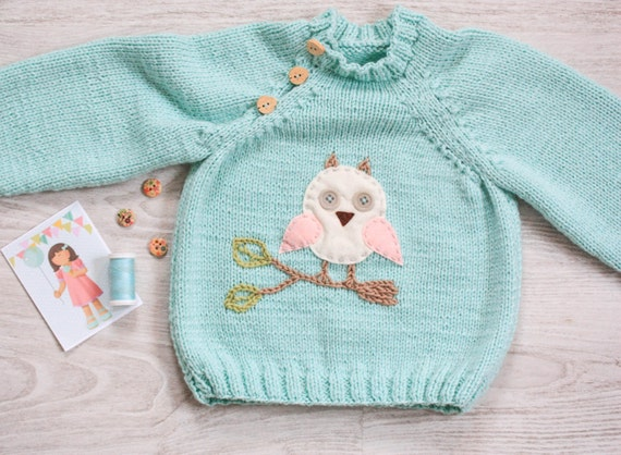 Woolen Owl Baby Knitwear Knit Baby Clothes Hand knitted Baby Sweater Kids Winter Clothes Toddler Sweater Mint Green Toddler Jumper
