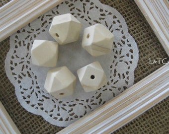Natural Wooden Geometric Beads 20 mm