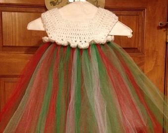 Girl's Crochet Top Christmas Tutu Dress