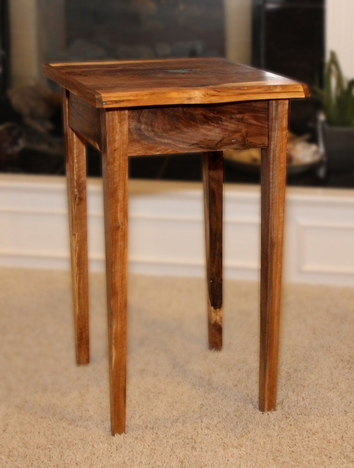 small end table with drawer live edges walnut handmade etsy. Black Bedroom Furniture Sets. Home Design Ideas