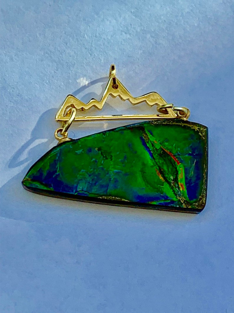 87730f060fa984 Rare Ammolite Rainbow Gemstone Jewelry Pendant Gold handmade | Etsy