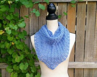 46679900ca428 Blue Sequin Shawl, Sequin Triangle Shawl, Crochet Shawl for Little Girl,  Lace Edging, Feminine Shawl, Evening Wrap, Blue Sequin Scarf