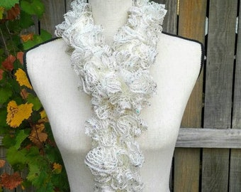 be6ee3b9e179d White Knit Scarf, White Ruffle Scarf, White Shimmer Scarf, Sequin Fashion  Scarf, Sashay Ruffle Scarf, Fluffy Boa Scarf, Lightweight