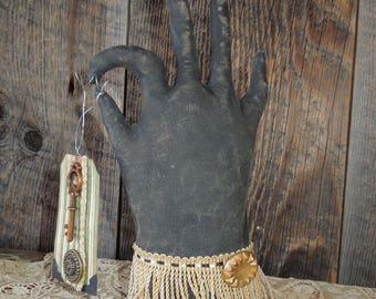 Folksy Primitive, Vintage Glove Hand Soft Sculpture Key and tag