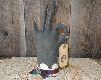 Folksy Primitive, Vintage Glove Hand Soft Sculpture Tartan Plaid Christmas