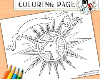 Christmas Coloring Page for Adults - Reindeer Adult Coloring Page - Holiday Instant Digital Download of Winter Printable Coloring Page