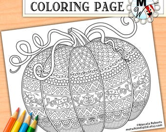 Pumpkin Coloring Page for Adults - Fall Adult Coloring Page - Halloween Instant Digital Download of Autumn Printable Coloring Page