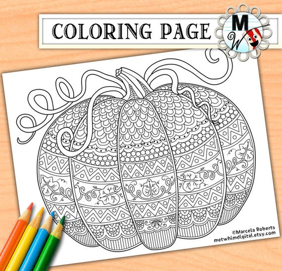 Pumpkin Coloring Page for Adults  Fall Adult Coloring Page