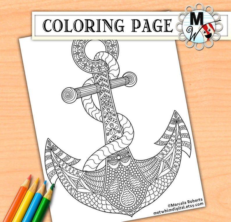 Anchor Coloring Page for Adults - Anchor Adult Coloring Page - Instant Digital Download of a Printable Nautical Coloring Page