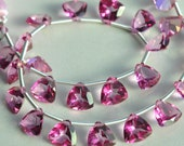 AAA Pink Topaz Faceted Trillion Drop Gemstone Briolette Beads - size options available