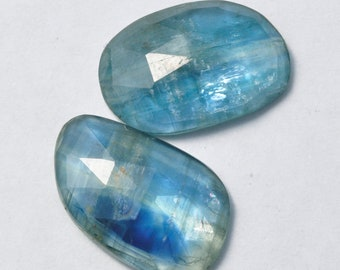 7 Pieces Genuine Teal Blue Kyanite Cabochons Lot 7x10mm to 7x11.3mm Oval Shape Natural Kyanite Gemstones Cabs Loose Stones Smooth Gems