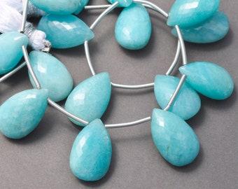 Aqua Blue Chalcedony Faceted Fancy Shape Briolette Gemstone Beads 3 pair 12mm