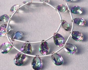 Unique Mystic Topaz Faceted Oval Shape Beads Loose Gemstone ZB 19 Faceted Mystic Topaz Briolettes Gemstone Jewelry