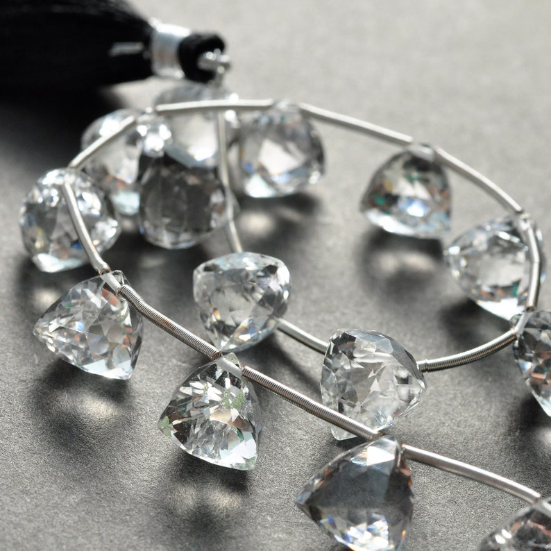 AAA Micro Faceted Rock Crystal Fancy Cut Trillion Pyramid Drop Gemstone Briolette Beads