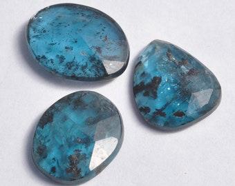 Natural Teal Blue Moss Kyanite Rosecut 15-16mm long Freeform Cabochon Gemstones
