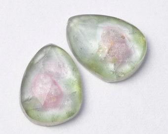 Natural Freeform Watermelon Tourmaline Rosecut Polki 6x8 Cabochon Gemstones