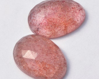 AAA Rosecut Lepidocrocite Red Fire Strawberry Quartz 17mm long Freeform Gemstone Cabochons