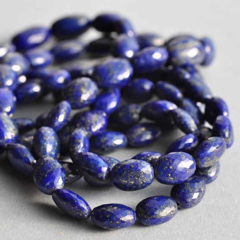 AAA MicroFaceted Natural Lapis Lazuli Gemstone Oval Beads