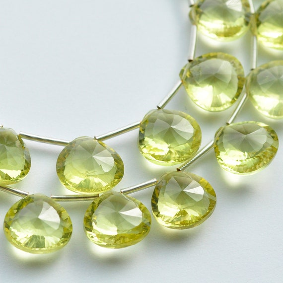 AAA Champagne Citrine Concave Diamond Cut Heart Briolette Gemstone 4 Beads