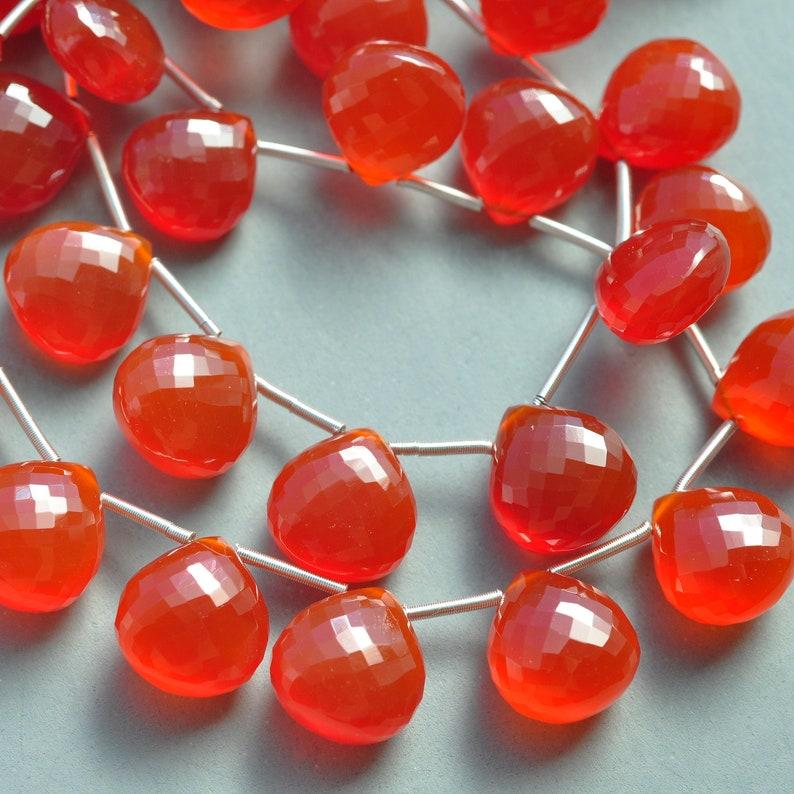 AAA MicroFaceted Red Orange Carnelian Heart Tear Drop Briolette Gemstone Beads