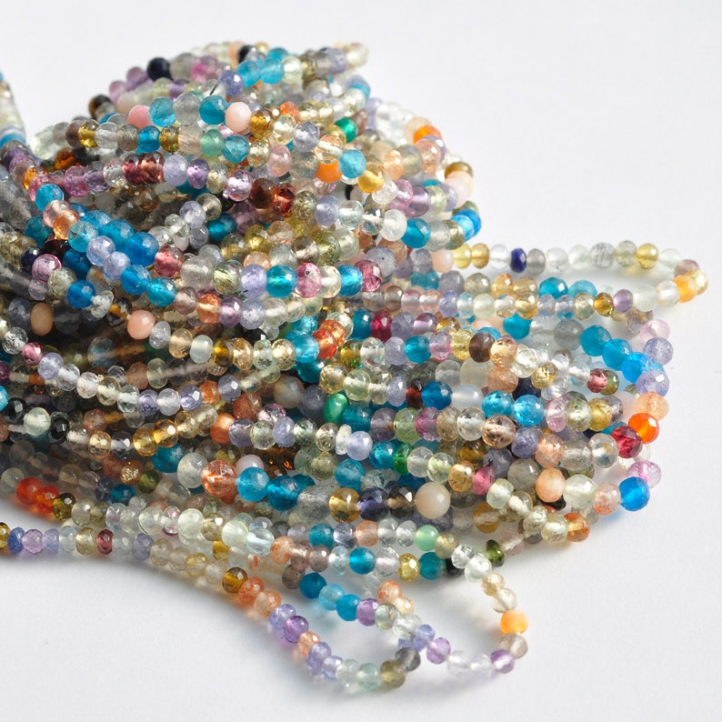 AAA Micro Faceted Natural Semi Precious Tear Drop Briolette Gemstone Mix Beads