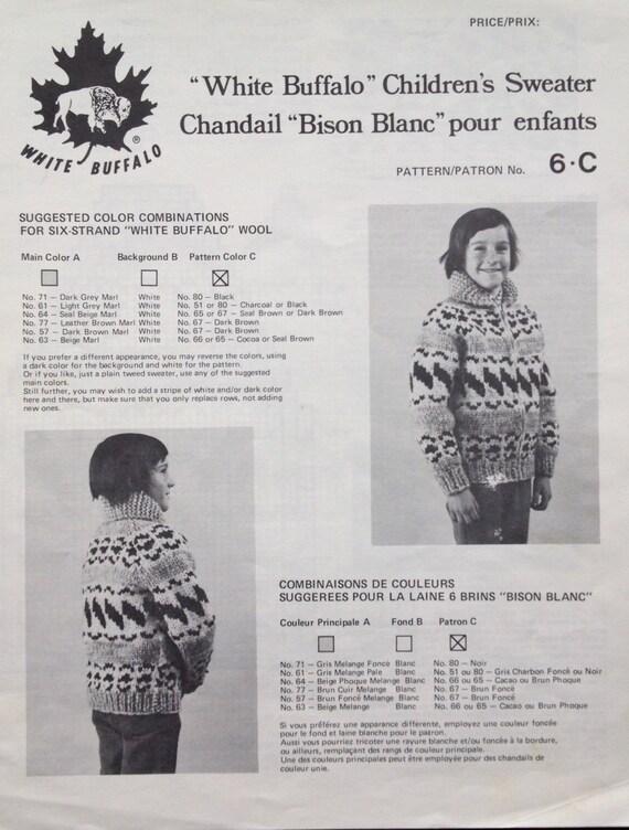 White Buffalo Cowichan PDF Pattern Salish sweater Knitting