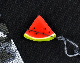 Watermelon Slice, Needle Minder, Summer Fuit, Magnetic Pincushion, Sewing Supply, Cross Stitch Tool, Glitter Watermelon, Embroidery Craft