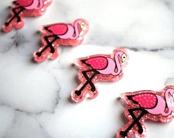 Flamingo Magnets, Pink Flamingos, Home Decor, Pink Glitter, Office Decor, Beach Gift, Apartment Decor, Tropical Birds, Back to School