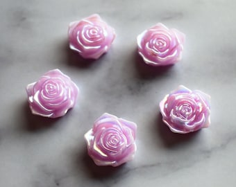 Iridescent Rose Magnets, Lavender Flowers, Decorative Magnets, Home Office Decor, Dorm Room Decor, Back to School, Teacher Gift, Pink Flower
