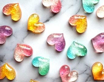 Glitter Hearts, Cute Magnets, Apartment Decor, Rainbow Hearts, Home Office Decor, Iridescent Glitter, Refrigerator Magnets, Office Supplies