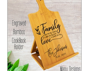 Cookbook Holder, Recipe Stand, Recipe Holder, Engraved Bamboo Chef's Easel, Personalized Gift, Many Existing Designs or Custom Made for you!