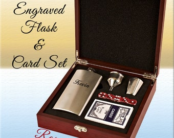 Engraved Flask Set, Personalized Flask, Custom Flask, Flask and Card Set, Groomsman Flask Set, Father of the Bride, Flask Set, Rosewood