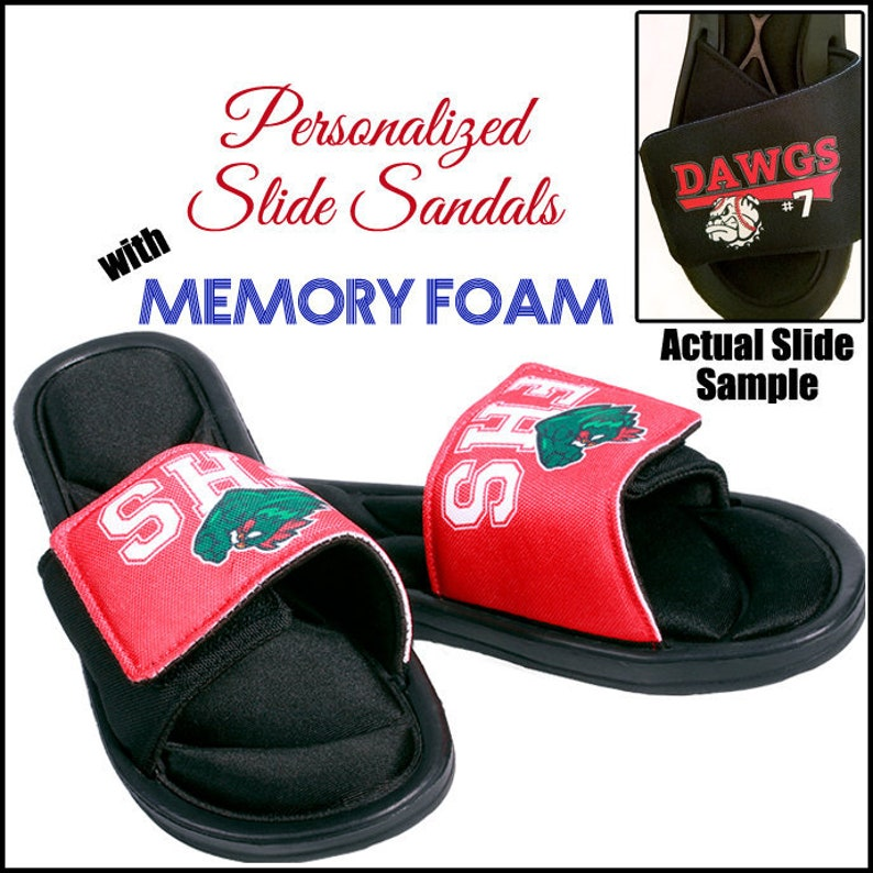 6232254f2 Slide Sandals Custom Slides Team Logo Custom Sandals