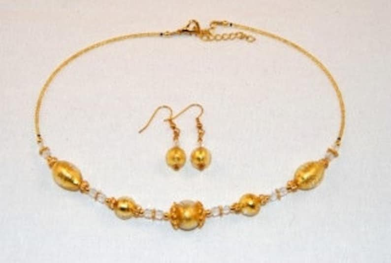 Gold murano glass oval and globes necklace and earrings
