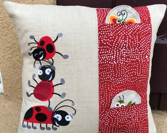 Children's, Ladybugs and Friends, Linen, Peek-a Boo Pocket Pillow Cover and Puppets