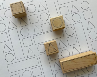 Outline Shapes Rubber Stamp Set - Set of 4 Rubber Stamps Made in USA