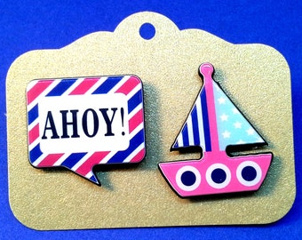 earrings mismatched sailboats