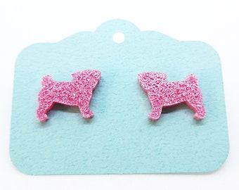 glitter pink pug studs