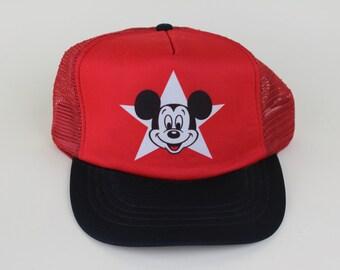 Vintage 1980s Mickey Mouse Disney Trucker Hat - 80s 90s Mickey Red Black Snap  Back Hat - Child Hat Kids Hat Boys Girls 4577237f828e