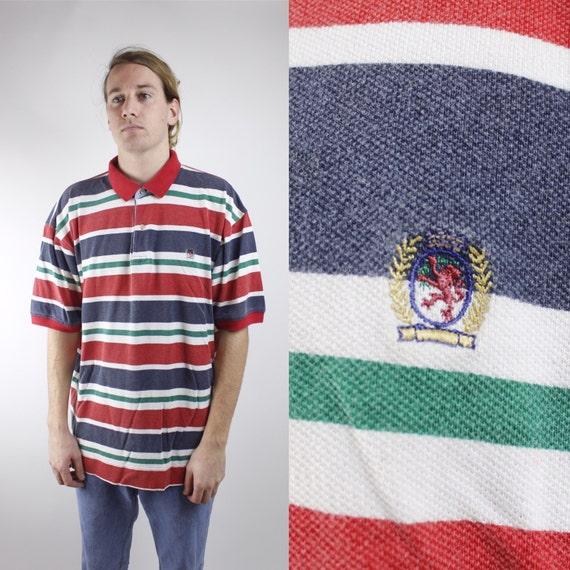 Vintage des années 90 Tommy Hilfiger Color Block rayé Polo Shirt - 90 ' s Crazy Multi Color abrégé Tommy Hilfiger Polo manches - Sz XL