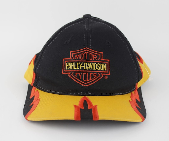 179894f46 Vintage 90s Harley Davidson Flames Hat - Snap Back Hat - Harley Biker Hat -  Embroidered Flames Red Orange Yellow Black